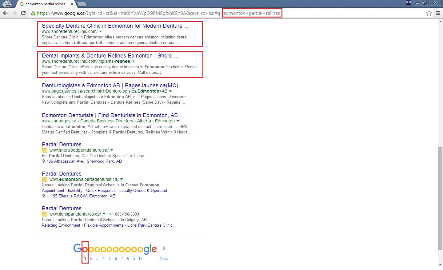 1st Page Google Ranking SEO screenshot example